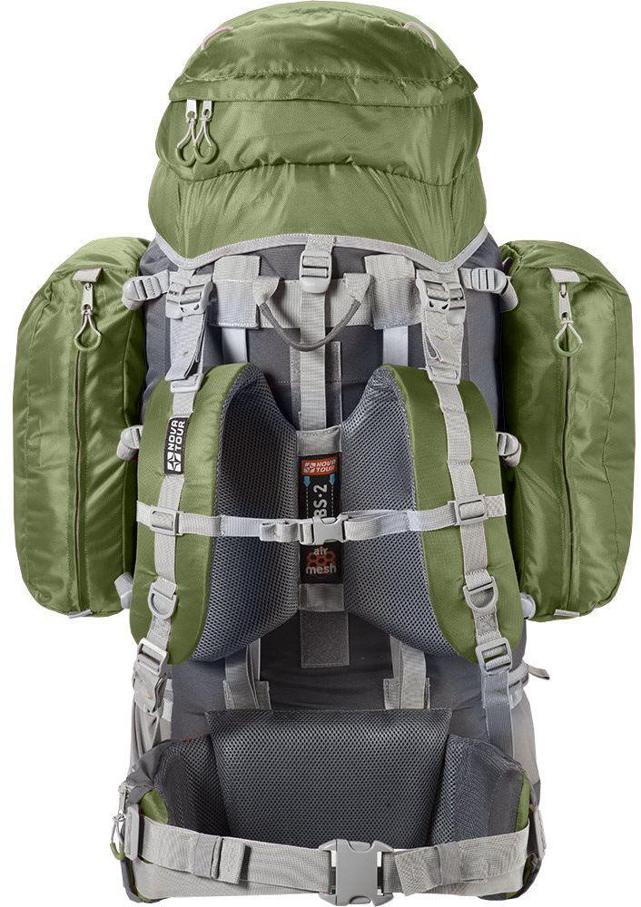 Рюкзак экспедиционный Nova Tour Абакан, 130 л, цвет: серый, олива95769-560-00В модели используется очень прочная ткань (600D) совместно с облегченной тканью (300D). Каркас состоит из двух металлических лат - это гарантирует прочность. Два больших боковых кармана на молнии создают дополнительный объем. Боковые оттяжки пояса помогут точно подогнать посадку рюкзака на пояс - это очень удобно при переноске тяжелого груза. Отделение с нижним входом обеспечивает быстрый доступ к снаряжению. Специальная система крепления позволяет надежно закрепить дополнительное снаряжение на фронтальной части изделия и сверху клапана. Для более удобной погрузки собранного рюкзака три ручки для переноски обшиты тканью.