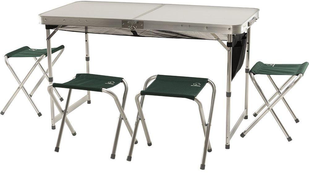 Набор складной мебели Greenell FTFS-1 V2, цвет: зеленый, 30 кг95798-366-00Универсальный набор складной мебели - стол и 4 табуретки. Для компактности табуретки убираются внутрь стола.