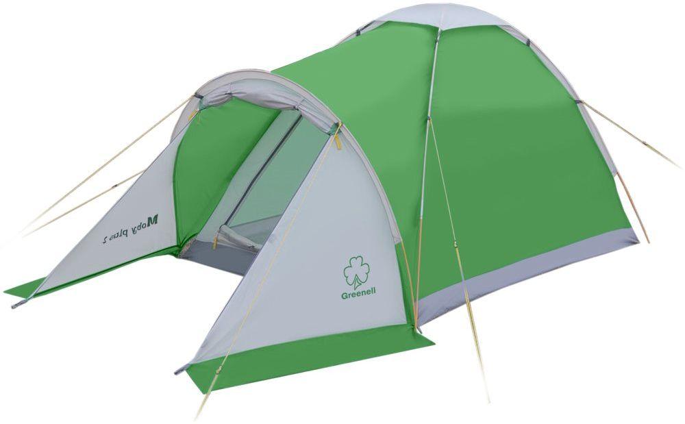 Палатка Greenell Моби 2 плюс, цвет: зеленый, светло-серый95964-364-00Есть тамбур для вещей. Пол имеет высокий порог и выполнен из полистера с PU 3000 , что обеспечивает хорошую защиту от влаги и снижает вес изделия. Собранную палатку легко перемещать с места на место, а в случае необходимости можно закрепить с помощью оттяжек.