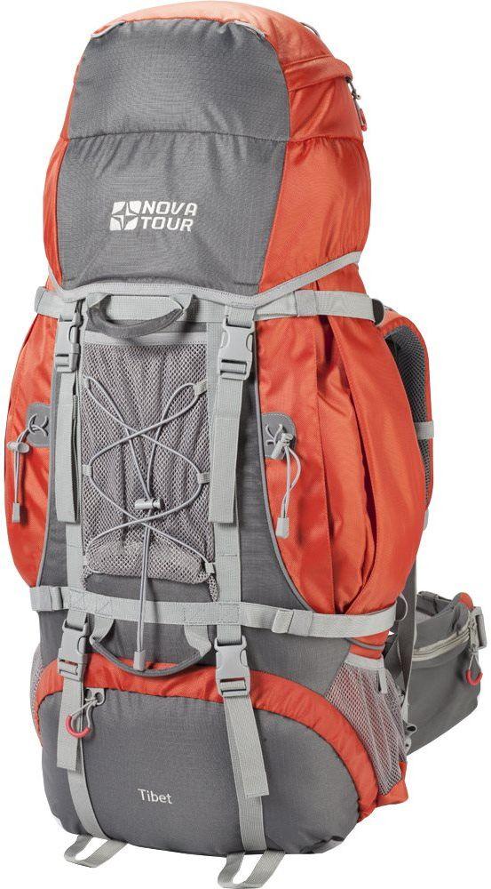 Рюкзак экспедиционный Nova Tour Тибет, 110 л, цвет: серый, терракотовый96012-253-00Два вместительных кармана на молнии, сетчатые карманы для фляги и мелочей по обеим бокам рюкзака и объемный клапан увеличивают вместимость. Удобная подвесная система с широкими лямками, значительно облегчает переноску тяжелых грузов. Сетчатый карман спереди и эластичная шнуровка на клапане рюкзака позволяют держать под рукой самые необходимые вещи: дождевик, теплый свитер или сменную обувь . Три усиленных ручки обеспечивают удобство при погрузке рюкзака в транспорт. Непромокаемый гермочехол, упакованный в специальный карман на дне рюкзака защитит от снега и дождя.