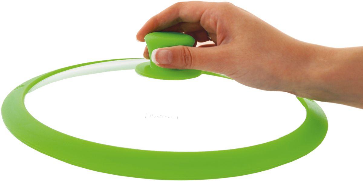 """Крышка для посуды Fissman """"Gourmet"""", с силиконовым ободком, цвет: зеленый, 20 см. 9951"""