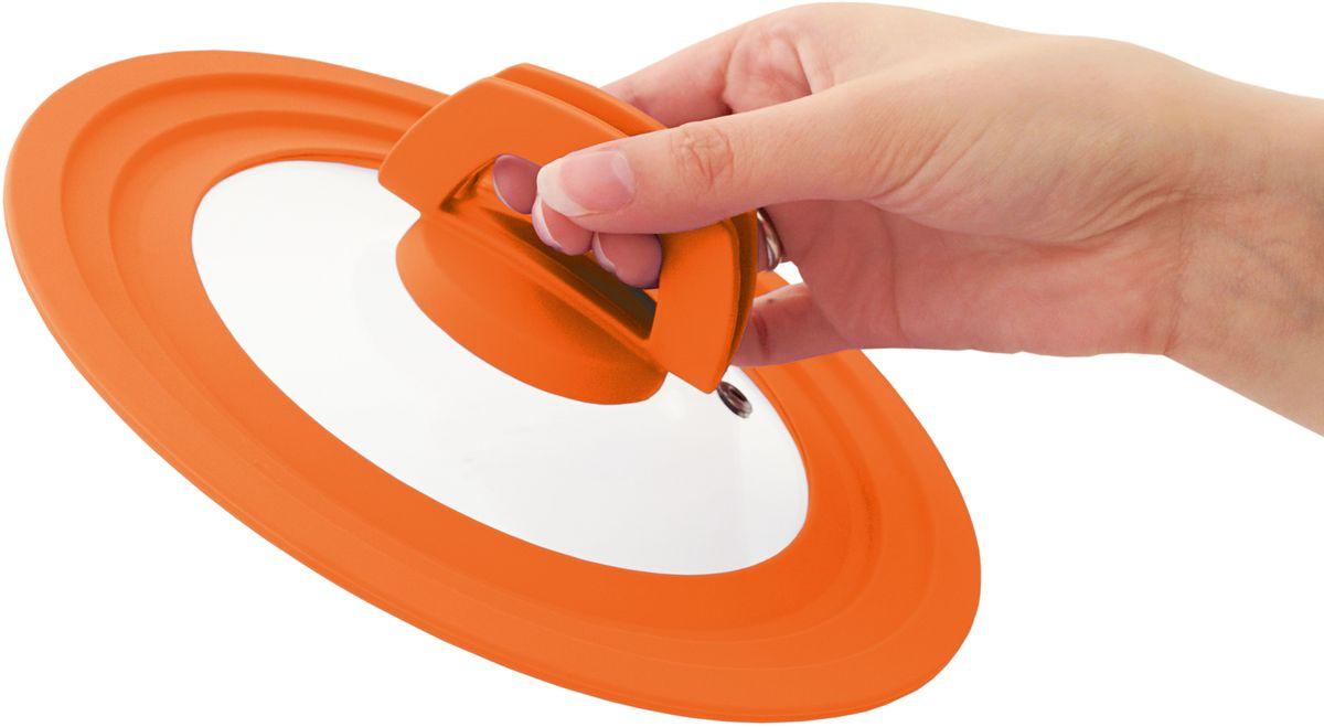 """Многоразмерная крышка Fissman """"Multi"""", с силиконовым ободком, цвет: оранжевый, 20/22/24 см. 9961"""