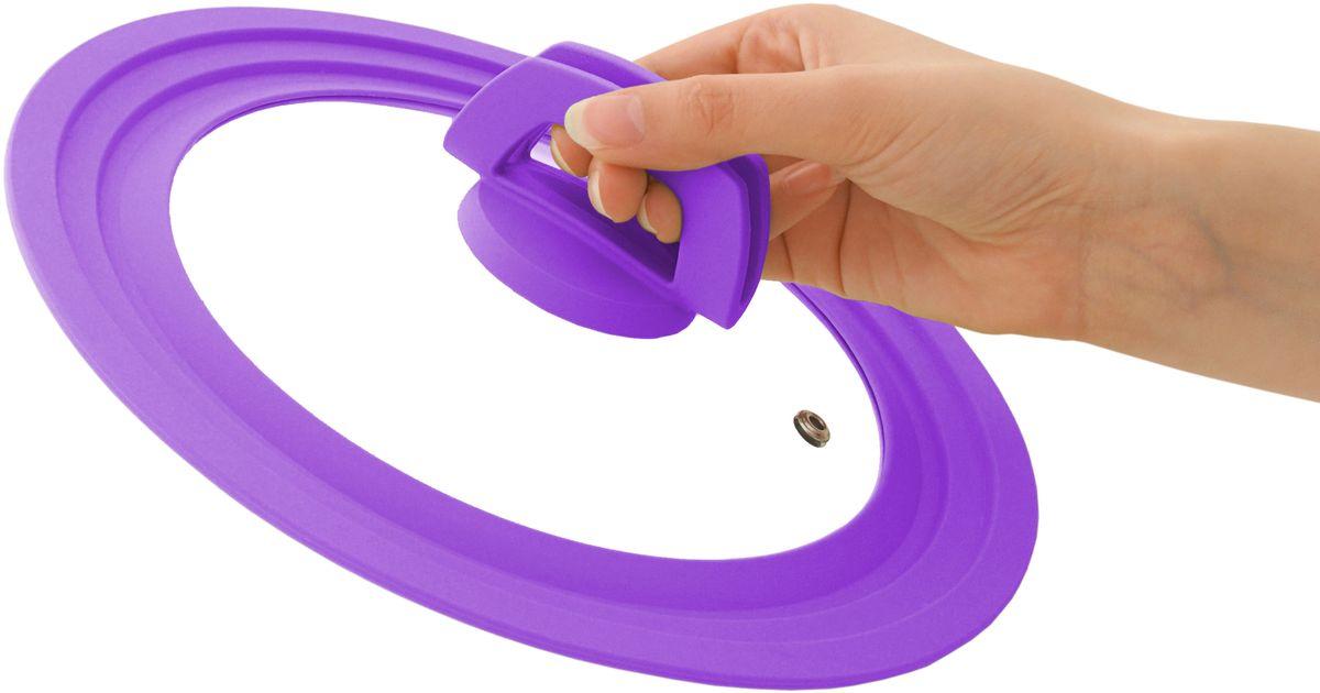 """Многоразмерная крышка Fissman """"Multi"""", с силиконовым ободком, цвет: фиолетовый, 28/30/32 см. 9963"""