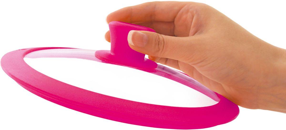 """Крышка для посуды Fissman """"Gourmet"""", с силиконовым ободком, цвет: розовый, 20 см. 9965"""