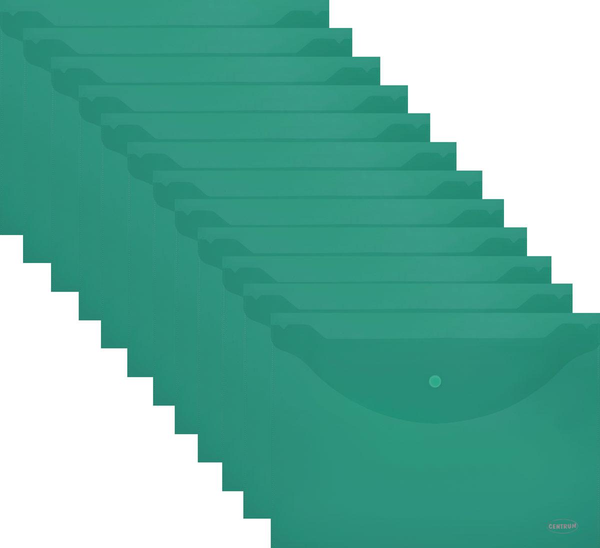 Centrum Папка-конверт на кнопке цвет зеленый Формат А4, 12 шт80024_зеленыйCentrum Папка-конверт на кнопке выполнена из полупрозрачного полипропилена. Имеет формат А4, горизонтальную застежку-кнопку.