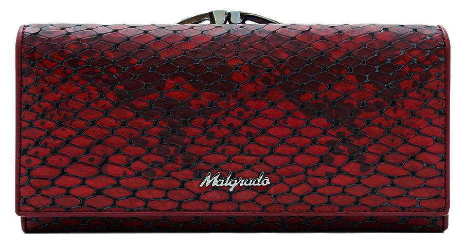 Кошелек женский Malgrado, цвет: красный. 72031-5250172031-52501Стильный кошелек Malgrado выполнен из натуральной кожи, застегивается клапаном на кнопку. Внутри содержит девять кармашков для кредитных карт, три отделения для купюр, один кармашек на застежке-молнии. На задней стороне кошелек имеет 2 отделения для мелочи, закрывающиеся металлическим рамочным замком типа ридикюль. Кошелек упакован в подарочную металлическую коробку с логотипом фирмы. Такой кошелек станет замечательным подарком человеку, ценящему качественные и практичные вещи.