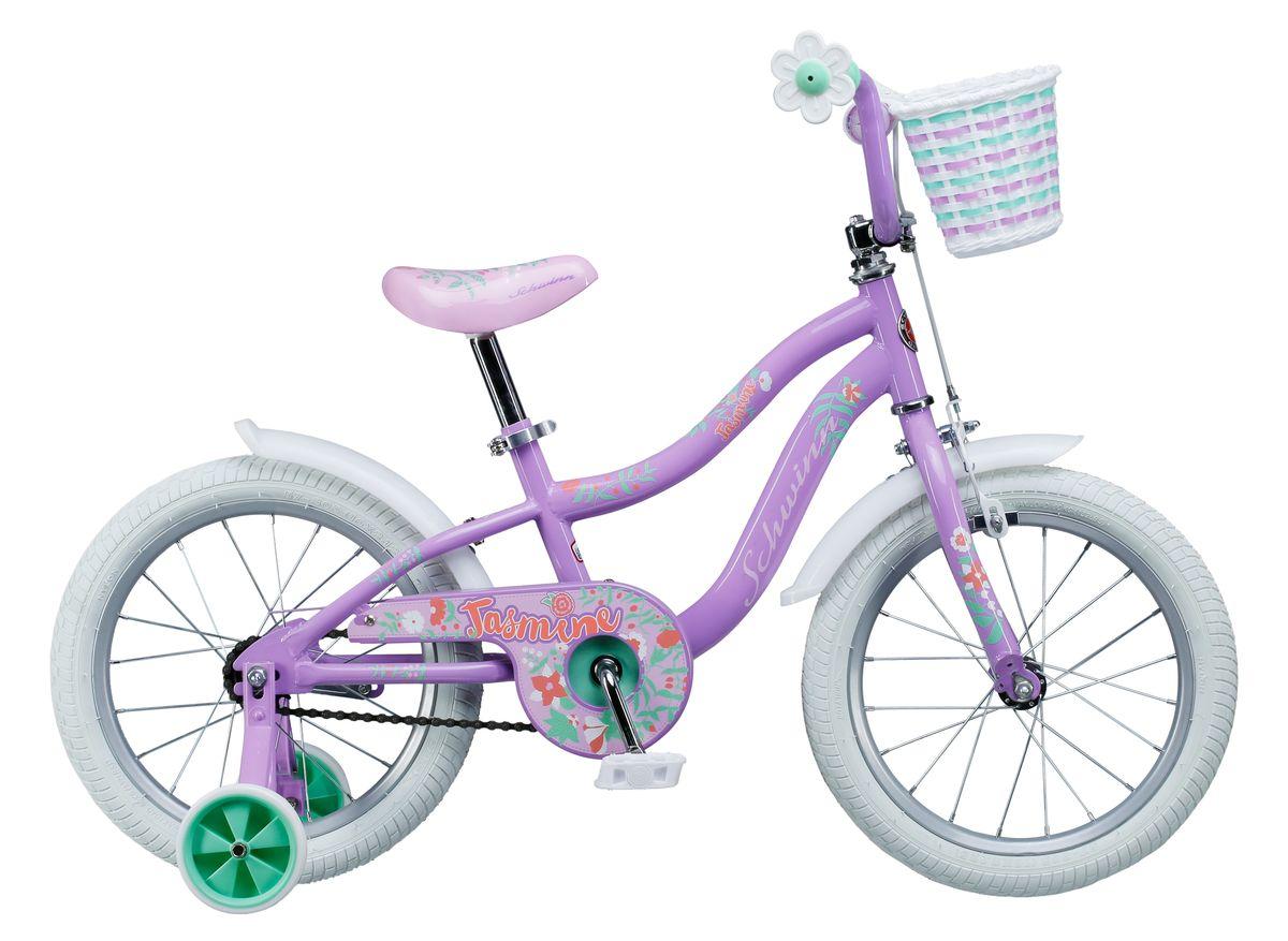 Велосипед детский Schwinn Jasmine, колеса 16, 1 скорость, цвет: фиолетовыйS1681EФиолетово-белое волшебное сочетание цветов Schwinn Jasmine понравится Вашей принцессе с первого взгляда! Этот велосипед - это отличный спутник зарождения любви к спорту и прогулкам на свежем воздухе. Седло и руль регулируются по высоте, и велосипед может расти вместе с Вашим ребёнком. Два вида тормоза, ручной и ножной, позволяют ребёнку постепенно переходить на взрослые стандарты. Цветочки-ограничители на концах руля – это не просто декоративный элемент, но и функциональная вещь, ведь ручки ребенка не соскочат при неловком движении. Schwinn SmartStart - новая концепция в разработке детских велосипедов, учиться кататься стало проще и веселее! • Рама Schwinn Smart Start • Надёжные ободные и ножные тормоза • Регулировка высоты седла без инструментов • Регулировка руля по высоте и наклону • Полноразмерная защита цепи • Дополнительные колёса • Ограничители на концах руля • Корзинка для кукол на руле • Колёса 16 • Велосипед для детей 4-6...