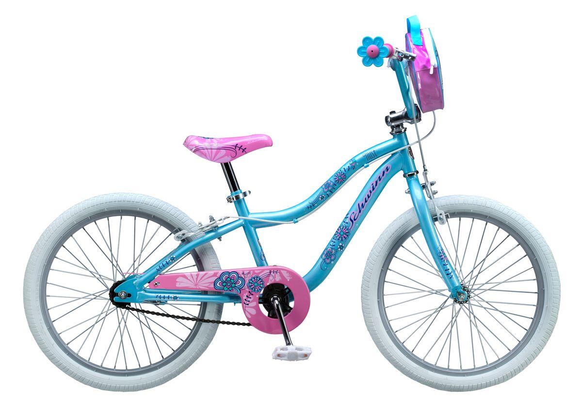 Велосипед детский Schwinn Mist, колеса 20, 1 скорость, цвет: светло-зеленыйS2367ESchwinn Mist – это небесно-голубой цвет, розовое седло и ручки-цветочки, плюс сумочка для кукол на руле. Все это создано для настоящих маленьких леди, которые уже стремятся быть модными и женственными. Цветочки-ограничители на концах руля – это не просто декоративный элемент, но и функциональная вещь, ведь ручки ребенка не соскочат при неловком движении. Классические ободные тормоза надёжны и проверены временем, они не подводят в любую погоду. Защита приводной цепи спасет одежду ребёнка от загрязнения. Schwinn SmartStart - новая концепция в разработке детских велосипедов, учиться кататься стало проще и веселее! • Рама Schwinn Smart Start • Надёжные ободные тормоза • Регулировка высоты седла без инструментов • Регулировка руля по высоте и наклону • Полноразмерная защита цепи • Ограничители на концах руля • Сумочка для кукол на руле • Подножка в комплекте • Колёса 20 • Велосипед для детей 6-9 лет • Для роста 115-130см