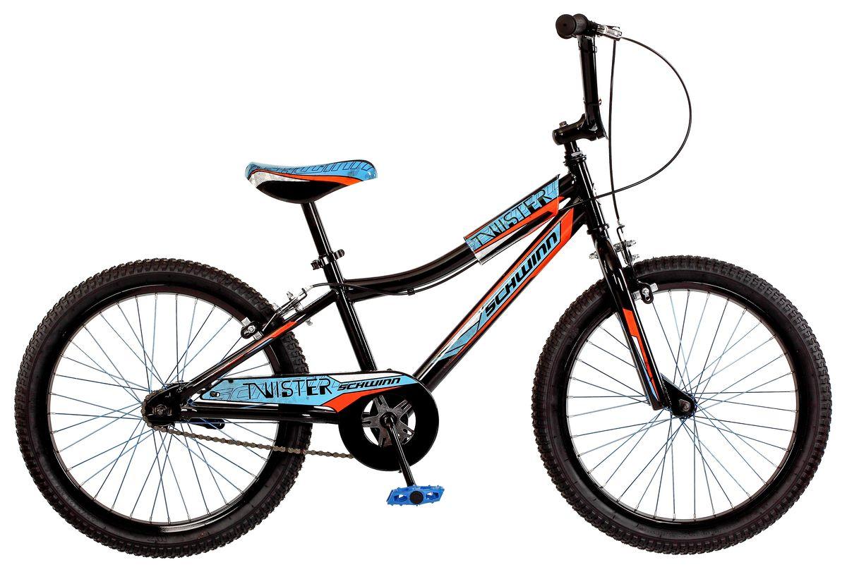 Велосипед детский Schwinn Twister, колеса 20, 1 скорость, цвет: черныйS2378EСпортивный стиль велосипеда Twister подчёркивает гоночная черно-голубая раскраска с яркими элементами. Прочная стальная рама и вилка – это основа надёжной конструкции велосипеда. Седло регулируется по высоте. Мягкая накладка на верхней трубе защищает от травм во время катания. Ободные тормоза надёжны и проверены временем, они не подводят в любую погоду. Полноразмерная защита цепи спасёт одежду от загрязнения. Schwinn SmartStart - новая концепция в разработке детских велосипедов, учиться кататься стало проще и веселее! • Рама Schwinn Smart Start • Надёжные ободные тормоза • Регулировка высоты седла без инструментов • Регулировка высоты руля и наклону • Полноразмерная защита цепи • Мягкая накладка на верхней трубе • Цветные спицы • Подножка в комплекте • Колёса 20 • Велосипед для детей 6-9 лет • Для роста 115-130см