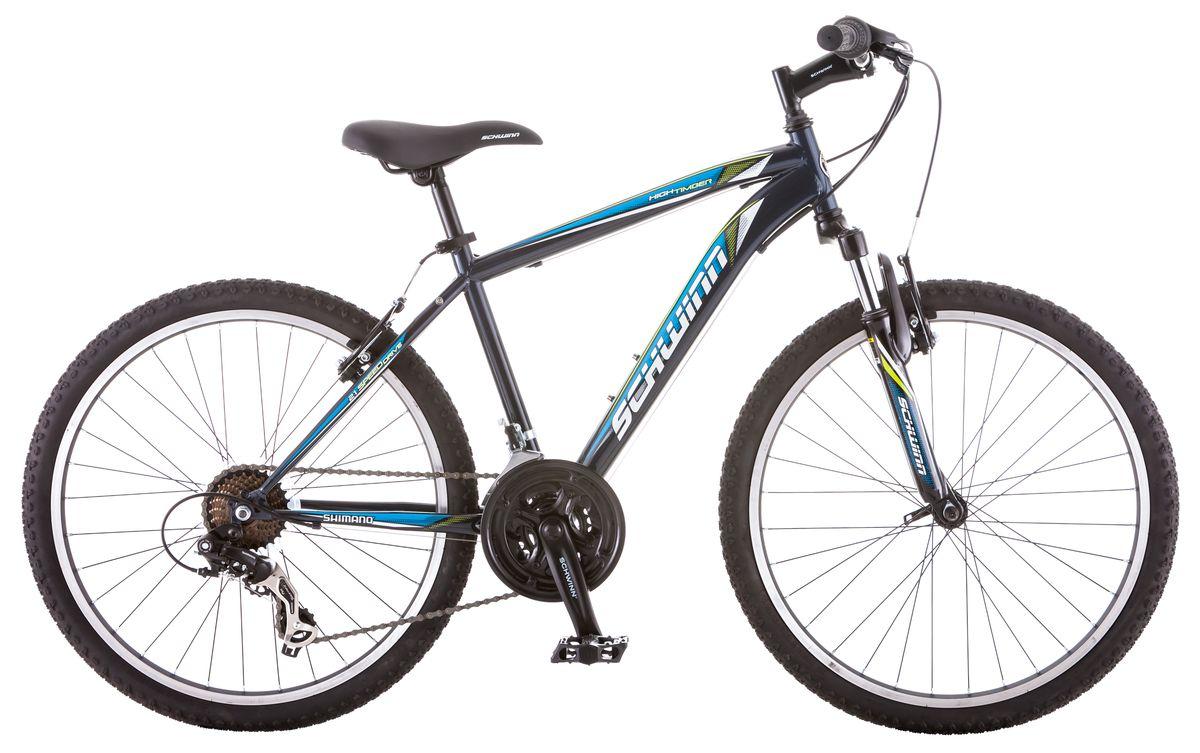 Велосипед горный Schwinn High Timber, для мальчика, рама 14, колеса 24, 21 скорость, цвет: синийS2448BНастало время тинэйджеров! High Timber 24 – идеальный пример качества и продуманного подхода к созданию подросткового велосипеда для парней. Выполнен он тёмно-синей цветовой гамме, такой практичной и модной в этом сезоне. Велосипед оснащен прочной стальной рамой размером 14, которая прослужит не один год. Седло и руль регулируются по высоте и можно слегка увеличивать ее по мере роста ребёнка. Амортизационная вилка оснащена подпружиненными пыльниками, которые не пропускают пыль и влагу внутрь, способствуя большему сроку службы вилки. Простые в настройке и обслуживании ободные тормоза отлично работают в любую погоду. Так же этот велосипед оснащён надёжными переключателями Shimano и защитой звёзд. • Прочная стальная MTB рама размером 14 • Амортизационная вилка с подпружиненными пыльниками • Простые в настройке и обслуживании ободные тормоза для любой погоды • Переключатели передач Shimano Tourney • 21 скорость • Руль и седло регулируются по высоте и наклону ...
