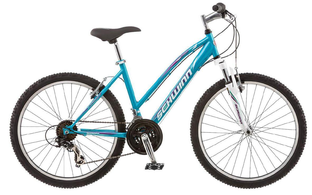 Велосипед горный Schwinn High Timber, для девочки, рама 14, колеса 24, 21 скорость, цвет: голубойS2449BНастало время тинэйджеров! High Timber 24 – идеальный пример качества и продуманного подхода к созданию подросткового велосипеда для девочек. Выполнен он в голубой цветовой гамме, такой романтичной и модной в этом сезоне. Велосипед оснащен прочной заниженной рамой размером 14, которая позволяет кататься в платье или сарафане и быстро спрыгнуть с велосипеда в непредвиденной ситуации. Седло и руль регулируются по высоте и можно слегка увеличивать ее по мере роста подростка. Амортизационная вилка оснащена подпружиненными пыльниками, которые не пропускают пыль и влагу внутрь, способствуя большему сроку службы вилки. • Прочная заниженная MTB рама размером 14 • Амортизационная вилка с подпружиненными пыльниками • Простые в настройке и обслуживании ободные тормоза для любой погоды • Переключатели передач Shimano Tourney • Руль и седло регулируются по высоте и наклону • Защита цепи • Алюминиевые обода • Быстросъёмные колёса на эксцентриковых осях • 21...