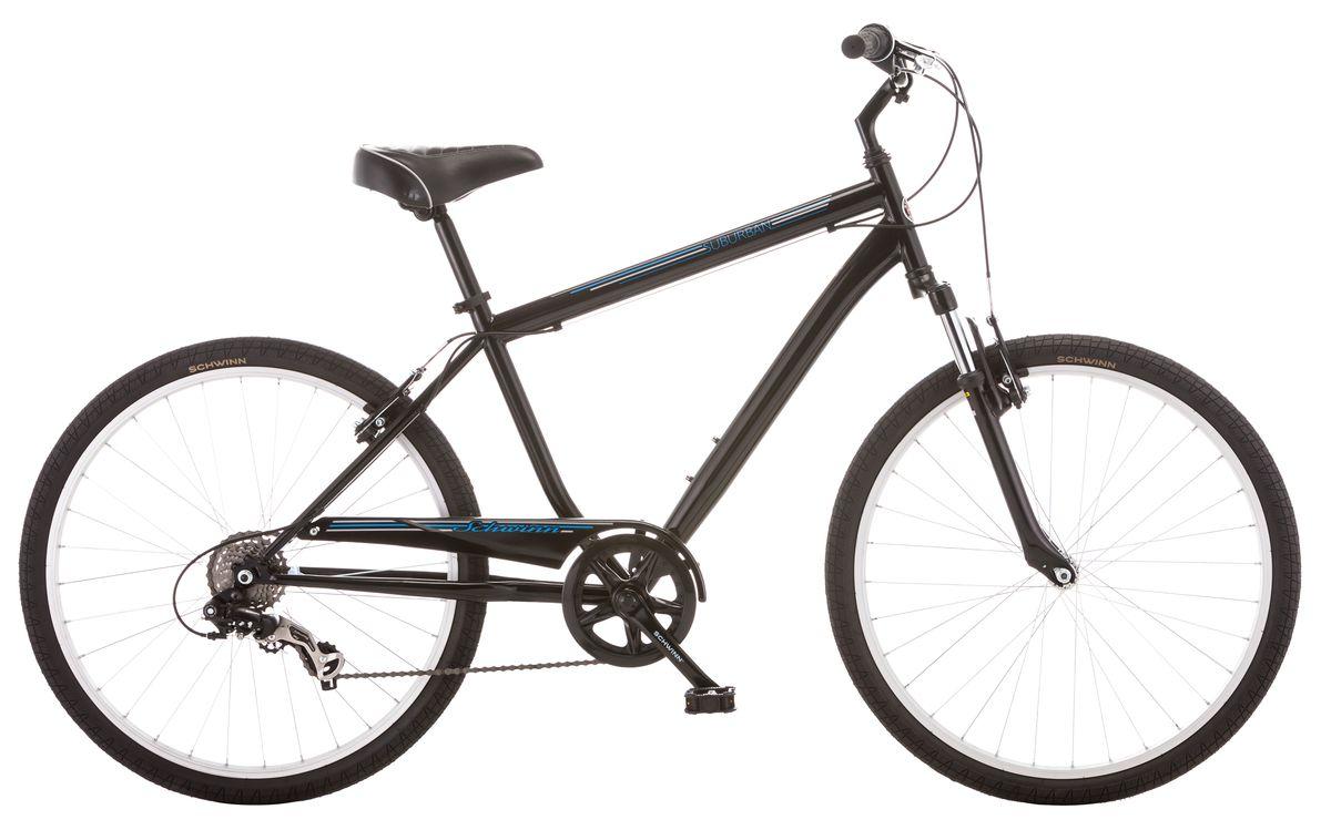 Велосипед городской Schwinn Suburban, мужской, рама 18, колеса 26, 7 скоростей, цвет: черныйS5482BСтильный мужской велосипед Suburban с рамой Schwinn Comfort , выполненный в классическом черном цвете, идеально подходит для катания по среднепересечённой местности – асфальту и утоптанным тропинкам. Этот комфортный велосипед оптимизирован под расслабленную посадку, которая достигается за счёт педалей, вынесенных вперёд относительно седла. Регулируемый по высоте руль помогает Вам сидеть максимально ровно, расслабив руки. Широкое, мягкое седло и амортизационная вилка, уменьшают любые, даже самые маленькие вибрации от дороги. Цепь велосипеда дополнительно защищена кожухом и не пачкает одежду. • Прочная стальная рама размером 18 • Амортизационная вилка • Надёжные ободные тормоза • Переключатели передач Shimano Tourney • 7 скоростей • Регулировка руля и седла по высоте и наклону • Полноразмерная защита цепи • Круговая защита передней звезды, предотвращает соскакивание цепи • Подножка в комплекте • Колёса 26