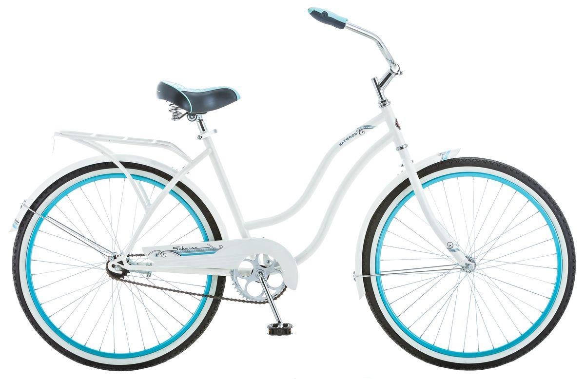 Велосипед городской Schwinn Baywood, женский, рама 16, колеса 26, 1 скорость, цвет: белыйS5591Выбирая Schwinn Baywood, любая девушка будет в центре внимания. Легкий и свежий дизайн подчеркнёт Вашу женственность на улицах города или тропинках парка. Рама, крылья и багажник, выполненные в белоснежном цвете, завершают воздушный романтический образ. Удобный широкий руль и комфортное анатомическое седло на пружинах – залог не только красивой, но и комфортной поездки. А благодаря заниженной раме можно кататься в платье или сарафане. И не стоит волноваться о длине юбки - полноразмерная защита цепи предохраняет от попадания низа одежды в цепь и звёзды. • Прочная заниженная рама размером 16 • Седло и руль регулируются по высоте и наклону • Широкий и удобный руль • Полноразмерные крылья • Багажник в цвет велосипеда • Полноразмерная защита цепи • Подножка в комплекте • Колёса 26