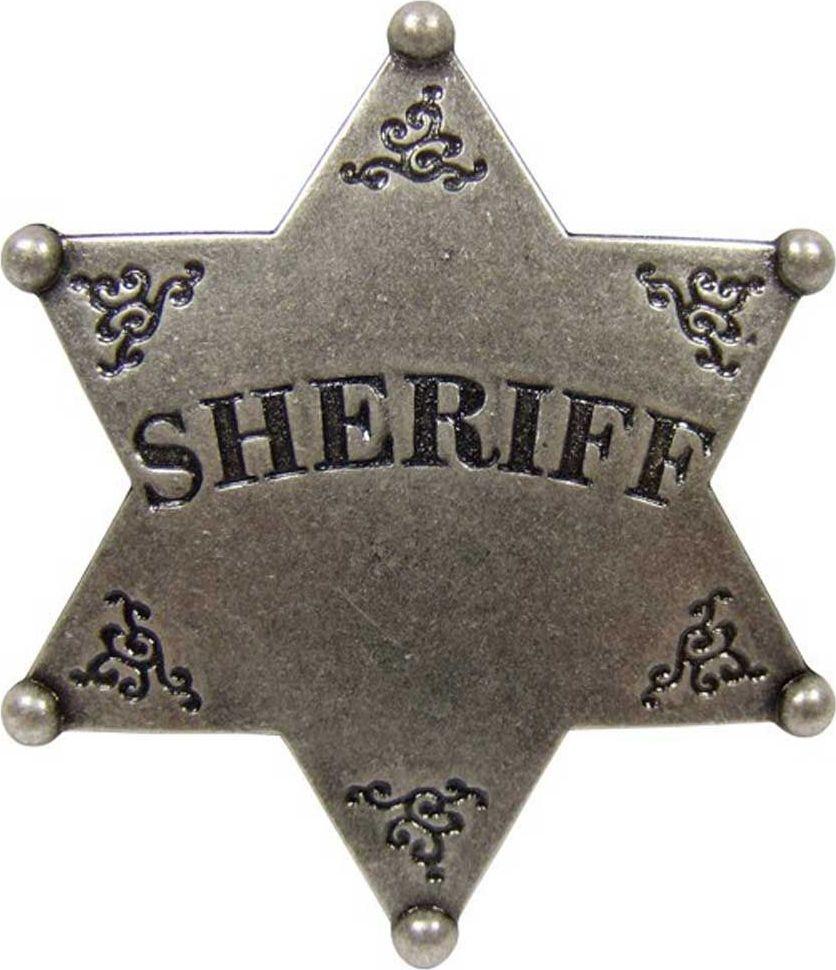 Звезда Шерифа шестиконечная. РепликаD7/101В США шериф округа, является шефом окружной полиции и чаще всего, это слово там используется именно в этом значении. Должность эта, как правило, выборная и срок полномочий 2 — 4 года. В его основные функции входят: поддержание правопорядка, борьба с преступностью, помощь в правосудии, функции судебного пристава, административное управление окружной тюрьмой. Эмблема имеет прямое отношение к Вифлеемской звезде, которая в США, в конце XVIII века была сделана государственной эмблемой США и внесена официально в герб США на почетное главное место (над орлом в окружении облака), но в несколько «закодированном» виде, то есть в виде расположенных в форме шестиконечной звезды 13 пятиконечных звездочек, которые символизируют 13 основных штатов, составивших первые в США. Эти звездочки расположены симметрично так, что сверху вниз они следуют 1:4:3:4:1 и в совокупности образуют одну шестиконечную Вифлеемскую звезду.