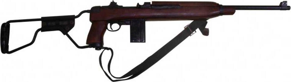Карабин Второй Мировой войны, модель десантных войск, складывающийся приклад, с ремнем, США, 1941 годD7/1131CКомпания Denix из Испании часто обращается к огнестрельному оружию, выпускавшемуся во время Второй мировой войны. Большое внимание уделяется вооружению американской армии, так как ей использовались одни из самых наиболее массово производимых винтовок, карабинов, автоматов и т. д.В их числе – модификация M1A1 знаменитого карабина M1, разработанного компанией Winchester. Эту вариацию использовали парашютно-десантные части. От базовой версии ее отличал металлический приклад, который складывался. Объем выпуска M1A1 составил порядка 150 тысяч экземпляров.