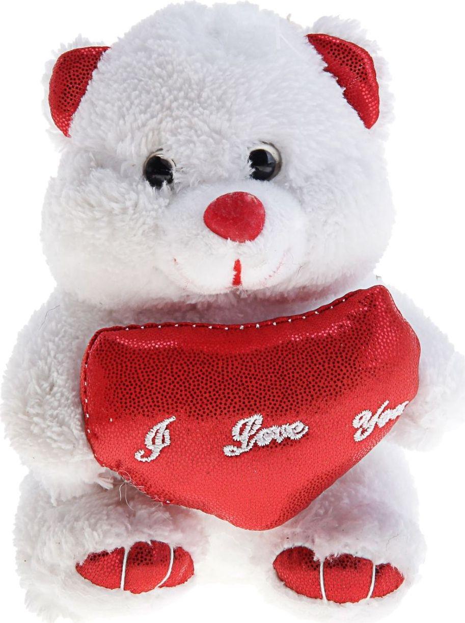 Sima-land Мягкая игрушка Мишка белый цвет красный 330513
