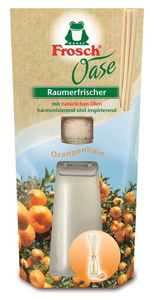 Ароматизатор воздуха Frosch Апельсин, 90 мл108084Ароматизатор воздуха Frosch Апельсин представляет собой чувственное вдохновение от природы в стильной и элегантной стеклянной бутылке. Натуральный ненавязчивый аромат благотворно влияет на микроклимат в помещении, вызывает приятные воспоминания и пробуждает чувства. Аромат апельсина обладает успокаивающим эффектом и способствует расслаблению. Пробка и палочки изготовлены из натуральной древесины. Способ применения: выньте пробку и вставьте деревянные палочки в бутылку. Чем больше деревянных палочек вы используете, тем интенсивней аромат в комнате. Состав: отдушки, масла апельсина. Товар сертифицирован. Уважаемые клиенты! Обращаем ваше внимание на возможные изменения в дизайне упаковки. Качественные характеристики товара остаются неизменными. Поставка осуществляется в зависимости от наличия на складе.