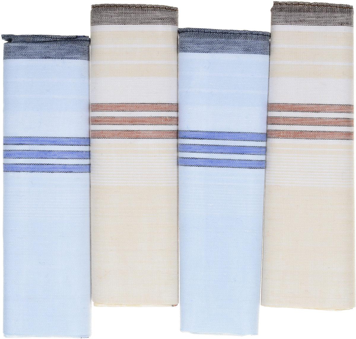 Платок носовой мужской Zlata Korunka, цвет: голубой, бежевый. 71419-6. Размер 34 х 34 см, 4 шт71419-6_голубой, коричневыйНосовой платок Zlata Korunka изготовлен из высококачественного натурального хлопка, благодаря чему приятен в использовании, хорошо стирается, не садится и отлично впитывает влагу. Практичный носовой платок будет незаменим в повседневной жизни любого современного человека. Такой платок послужит стильным аксессуаром и подчеркнет ваше превосходное чувство вкуса. В комплекте 4 платка.