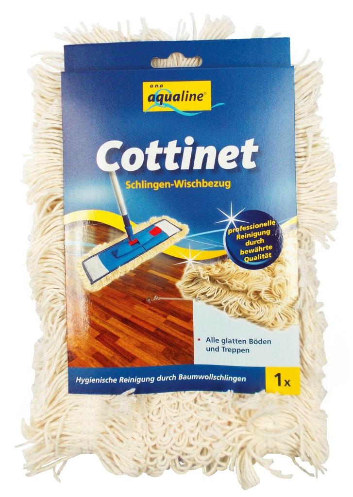 Насадка петлистая Aqualine Cottinet для плоской швабры9345Сменная насадка Aqualine Cottinet подходит ко всем плоским швабрам с размером держателя 42 см. Благодаря комбинации из трех разных волокон - хлопкового и специального микро волокна, нити которых зафиксированы пучками, материал легко вбирает в себя крупный и мелкий мусор, а также воду с пола. Грязь с насадки легко удаляется путем споласкивания. Мягкая на ощупь насадка легко выжимается и долго служит. Подходит для сухой и влажной уборки. Насадку можно стирать при температуре 60-90°С. Характеристики: Материал: хлопок, полиэстер-микроволокно. Размер насадки: 41 см х 12 см. Рекомендуемая длина держателя: 42 см. Производитель: Германия. Артикул: 9345. Уважаемые клиенты! Обращаем ваше внимание на возможные изменения в дизайне упаковки. Качественные характеристики товара остаются неизменными. Поставка осуществляется в зависимости от наличия на складе.