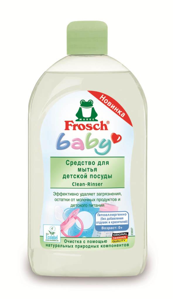 Средство Frosch для мытья детской посуды, 500 мл712355Эффективно удаляет загрязнения с детской посуды, бутылочек, сосок, а так же игрушек. Нежная формула, содержащая ухаживающий за кожей провитамин В5, эффективно удаляет засохшие остатки молока, сока, пищевых продуктов и полностью смывается с поверхности посуды. Протестировано дерматологами, гипоаллергенно, не содержит отдушек и красителей, нейтрально для кожи.