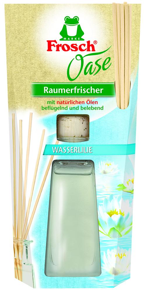 Ароматизатор воздуха Frosch Водяная лилия, 90 мл1109288Ароматизатор воздуха Frosch Водяная лилия представляет собой чувственное вдохновение от природы в стильной и элегантной стеклянной бутылке. Натуральный ненавязчивый аромат благотворно влияет на микроклимат в помещении, вызывает приятные воспоминания и пробуждает чувства. Аромат лилии обладает успокаивающим эффектом и способствует расслаблению. Пробка и палочки изготовлены из натуральной древесины. Способ применения: выньте пробку и вставьте деревянные палочки в бутылку. Чем больше деревянных палочек вы используете, тем интенсивней аромат в комнате. Товар сертифицирован.