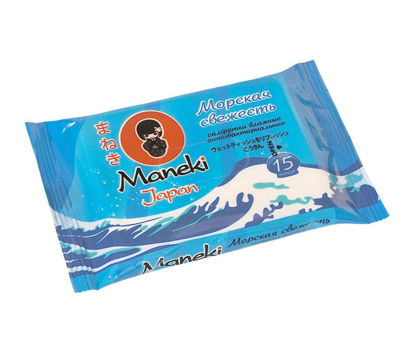 Maneki Салфетки влажные Kaiteki антибактериальные Морская свежесть, 15шт.WT517Влажные салфетки антибактериальные Морская свежесть не содержат спирт. Эффективно очищают руки от различных загрязнений. Эффективно очищают руки от различных загрязнений. Размер листа 153х200 мм в упаковке 15 шт.