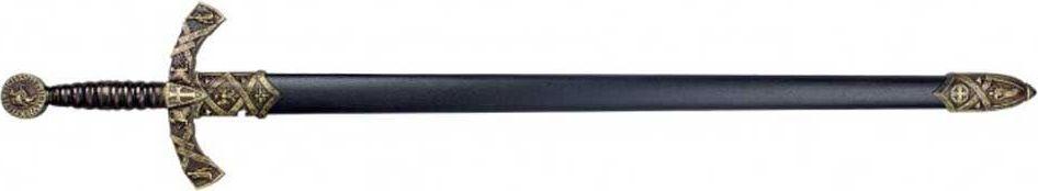 Меч в черных ножнах. Оружейная реплика. Черный металлD7/4163NМеч — вид холодного оружия с прямым клинком, предназначенный для рубящего удара или рубящего и колющего ударов, в самом широком смысле — собирательное название всего длинного клинкового оружия с прямым клинком. В современном отечественном историческом оружиеведении принято более узкое определение меча: наступательное оружие с обоюдоострым прямым клинком длиной более 60 сантиметров, предназначенное прежде всего для рубящих ударов. Оружие с односторонней заточкой клинка относится к палашам.Меч от античности до позднего средневековья был настолько известным видом оружия, что, наряду со щитом, стал символом воина и воинского дела, вошёл в геральдику, афоризмы и поговорки, даже в XXI веке оставаясь узнаваемым символом и героем фэнтезийной и даже научно-фантастической литературы. При этом на практике в течение большей части своей истории меч был дорогим и сравнительно малораспространённым оружием, играя в комплексе вооружения, как правило, вспомогательную роль. Основным боевым холодным...