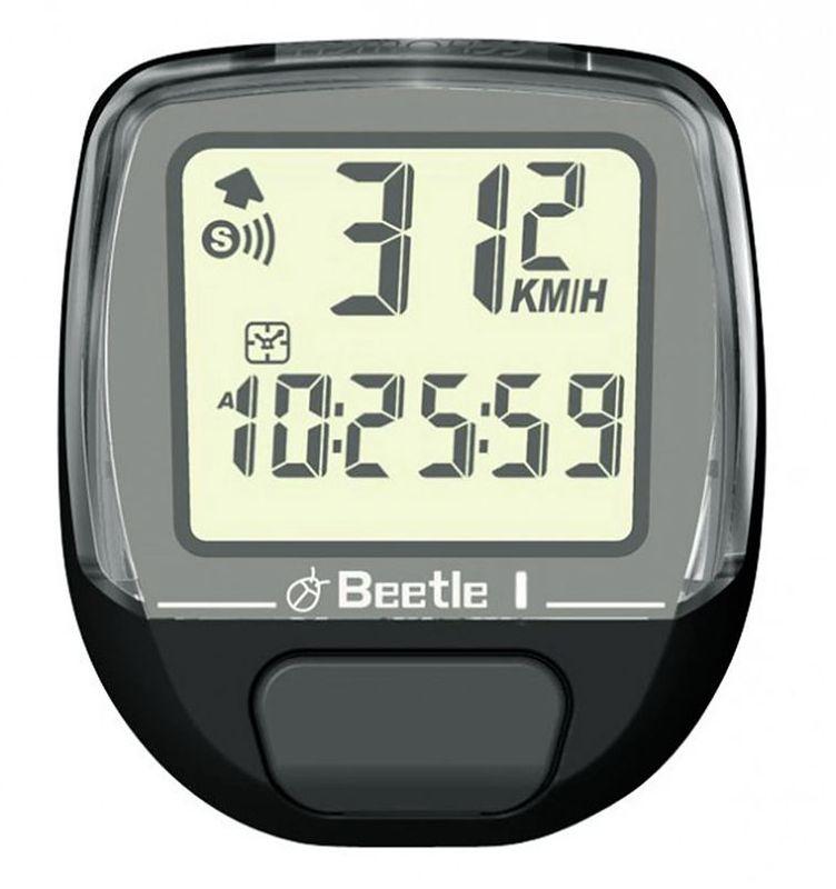 Велокомпьютер Echowell Beetle-1, 5 функций, цвет: черныйBeetle 1Проводной велокомпьютер Echowell Beetle 1 с пятью функциями в стильном корпусе предназначен для использования при занятиях велоспортом, велотуризмом и просто катании на велосипеде. Это удобный и простой в использовании электронный прибор, предоставляющий велосипедисту всю необходимую информацию о поездке. Имеет отличную водо и пылезащиту. Велокомпьютер состоит из двух частей соединенных проводом - дисплея, внешне похожего на электронные часы и датчика скорости. Дисплей крепится на руле с возможностью мгновенно отсоединить его, когда нет желания оставлять на велосипеде без присмотра или под дождем. Магнитный датчик скорости (геркон) крепится рядом с колесом. Велокомпьютер определяет скорость движения с точностью до десятых долей, дистанцию - с точностью до 10 метров. На дисплее функции поочередно сменяют друг друга. Все операции и настройки выполняются одной кнопкой.Функции: - Текущая скорость - Средняя скорость - Время - Дистанция - Одометр ...