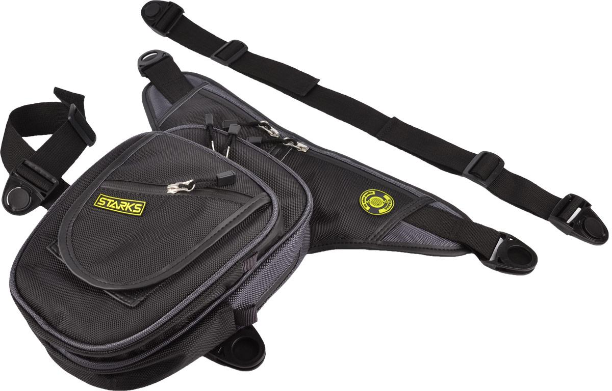 Сумка на бедро Starks WP7, цвет: черный, серыйЛЦ0002Набедренная сумка Starks WP7 выполнена из высококачественного полиэстера. Сумка оснащена 1 вместительным отделением на двойной застежке-молнии с 2 карманами внутри: 1 на застежке-молнии, второй на резинке. На ремне расположено 2 кармашка, закрывающихся на застежки-молнии. На передней части имеется 3 кармана на застежке-молнии и 1 карман на липучке. Сумка защищена от воды и холода. Ткань и молнии водонепроницаемы. Нитки с водоотталкивающей пропиткой. Сумка закрепляется на поясе и бедре при помощи регулируемых по длине ремней. Защелки изготовлены из прочного пластика. Сетка на внутренней стороне обеспечивает терморегуляцию, благодаря чему сумка не нагревает ногу в жаркую погоду. Кожаная окантовка придает оригинальности дизайну. Ширина сумки с учетом ремня: 44 см. Размер сумки без учета ремня: 26 х 22 х 6 см.