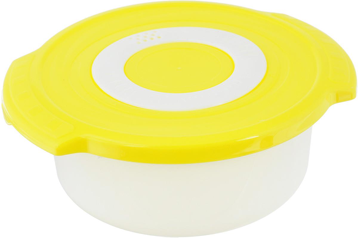 Кастрюля для СВЧ Plastic Centre Galaxy, цвет: желтый, 0,9 лПЦ2270Круглая кастрюля для СВЧ Plastic Centre Galaxy изготовлена из высококачественного полипропилена, устойчивого к высоким температурам. Яркая цветная крышка плотно закрывается, дольше сохраняя продукты свежими и вкусными. Кастрюля снабжена паровыпускным клапаном, который можно регулировать. Кастрюля прекрасно подойдет для разогрева и приготовления пищи в СВЧ. Объем кастрюли: 0,9 л. Размеры кастрюли: 18,5 х 16,5 х 7,5 см.