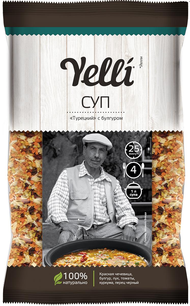 Yelli суп Турецкий с булгуром, 120 гЕЛ 114/10Турецкая кухня славится своими пряными блюдами, и традиционный суп-пюре из красной чечевицы с булгуром - одно из самых популярных. В народе его называют суп невест, турки считают это блюдо символом семейного счастья и уюта. Именно этот суп традиционно готовят турецким невестам прямо перед свадьбой, чтобы он избавил их от семейных неурядиц в будущем. Готовое блюдо представляет собой ароматный суп-пюре, который станет украшением стола и в праздники и в будни.