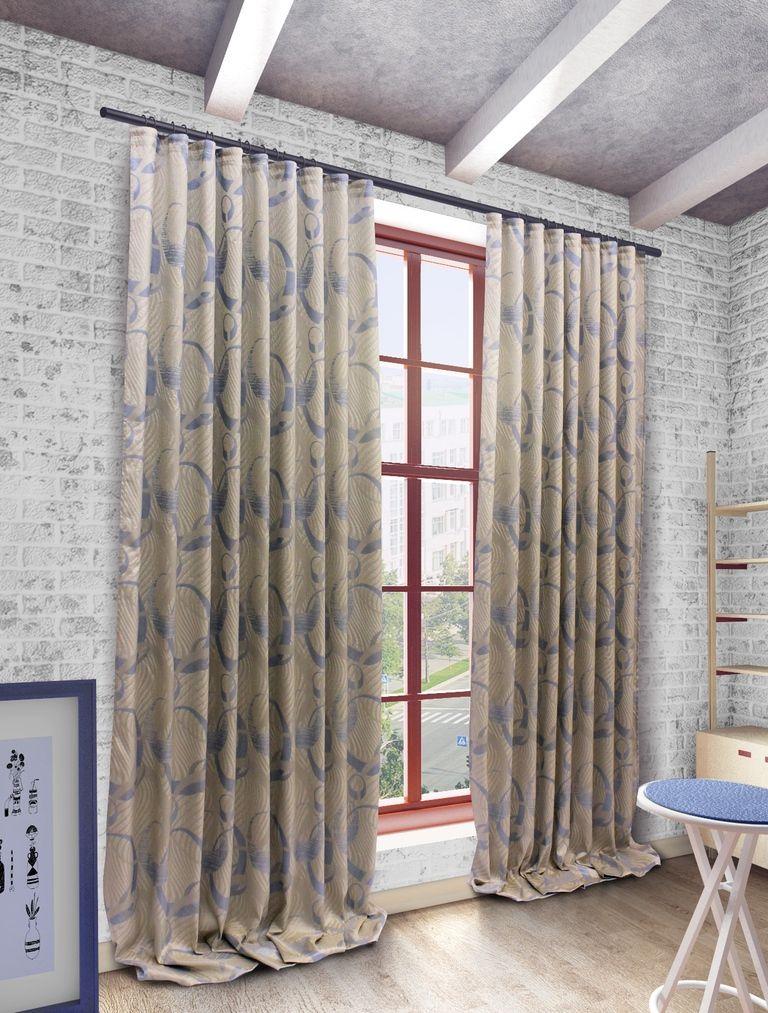 Штора Sanpa Home Collection Селина, на ленте, цвет: голубой, высота 280 смHP2111/8/1Е Селина голубой, , 200*280 см
