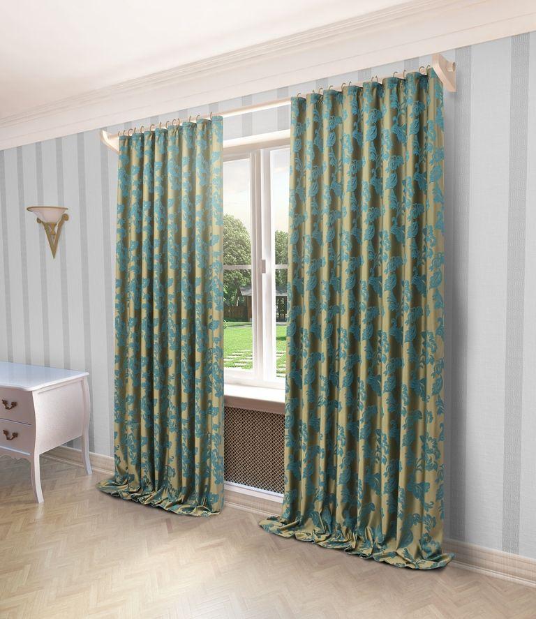 Штора Sanpa Home Collection Сьюзен, на ленте, цвет: бирюзовый, высота 280 смHP66001/35/1Е Сьюзен бирюзовый, , 200*280 см