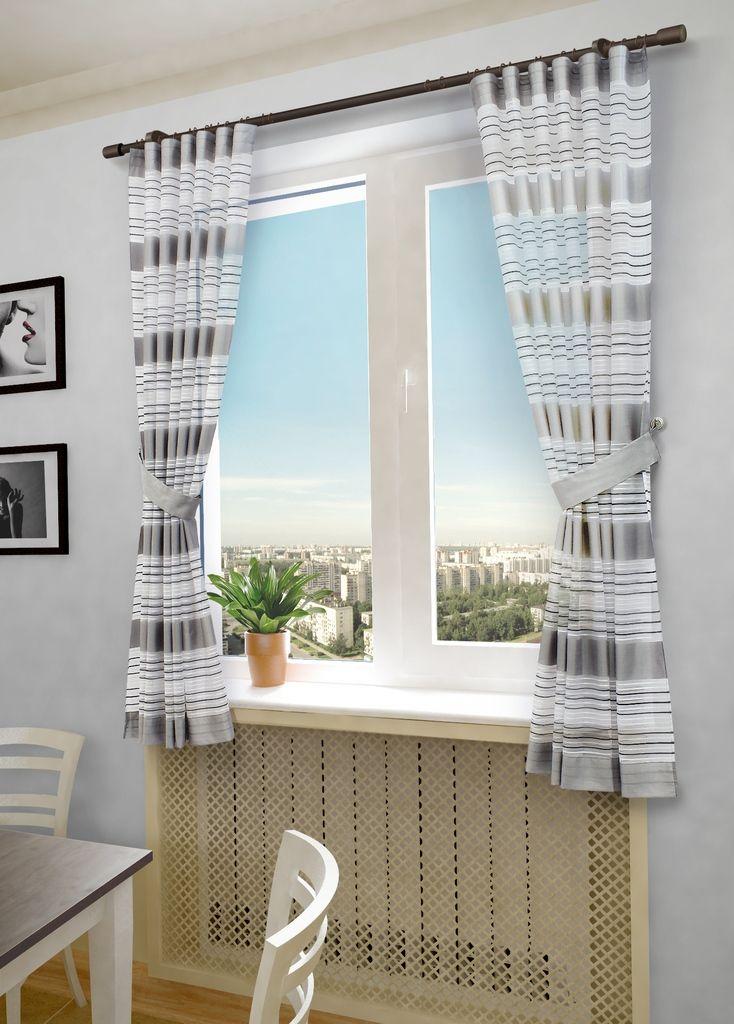 Комплект штор Sanpa Home Collection Зебра, на ленте, цвет: серый, высота 180 смHP20288/3/1E Зебра серый, , 145*180(2шт)+подхваты