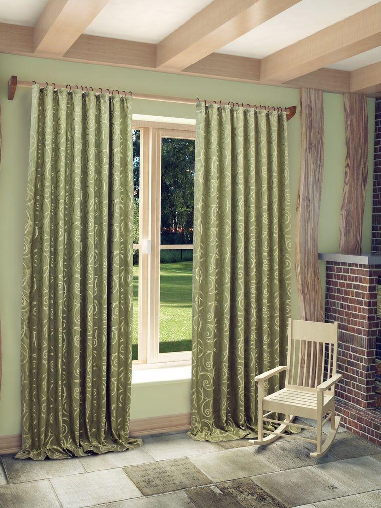 Штора Sanpa Home Collection Розан, на ленте, цвет: зеленый, высота 280 смHP10057/9/1E Розан зелены, , 200*280 смШтора Розан с оригинальным узором изготовлена из ткани жаккард. Жаккард - одна из дорогостоящих тканей, так как её производство трудозатратно. Своеобразный рельефный рисунок, который получается в результате сложного переплетения на плотной ткани, напоминает гобелен. Крепление к карнизу осуществляется при помощи вшитой шторной ленты.