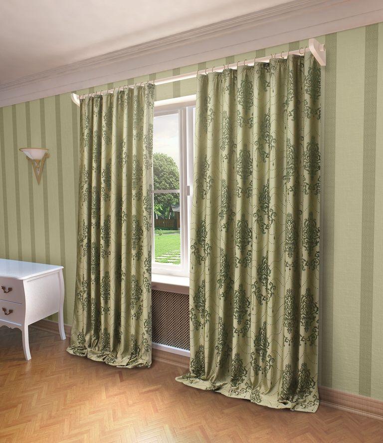 Штора Sanpa Home Collection Стефани, на ленте, цвет: зеленый, высота 280 смHP66003/1/1Е Стефани зеленый, , 200*280 см