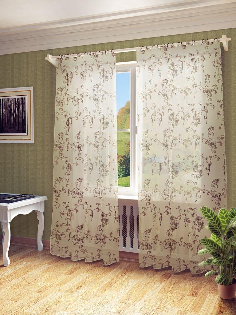 Тюль Sanpa Home Collection Камила, на ленте, цвет: коричневый, высота 280 смHP3131/4/1E Камила коричневый, , 300*280 см