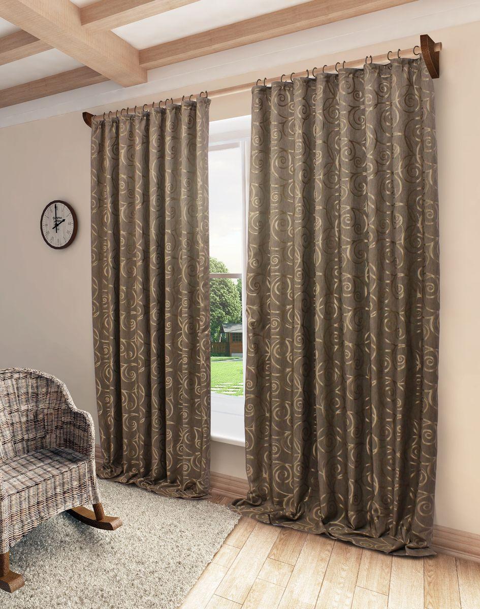 Штора Sanpa Home Collection Розан, на ленте, цвет: коричневый, высота 280 смHP10057/10/1E Розан корич, , 200*280 см