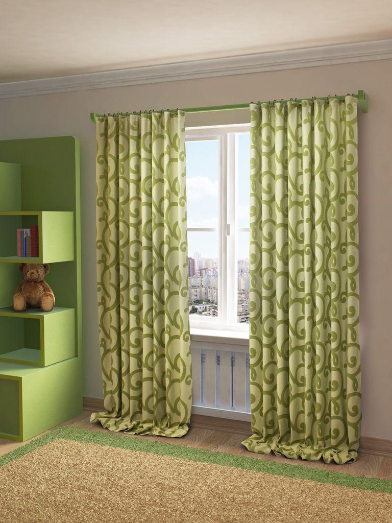 Штора Sanpa Home Collection Реджина, на ленте, цвет: зеленый, высота 280 смHP80155/8/1Е Реджина зеленый, , 200*280 см