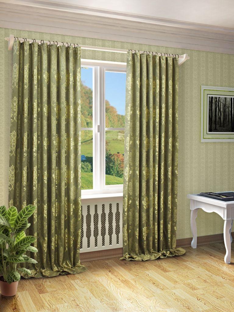 Штора Sanpa Home Collection Оливия, на ленте, цвет: зеленый, высота 280 смHP10569/11/1E Оливия зеле, , 200*280 см