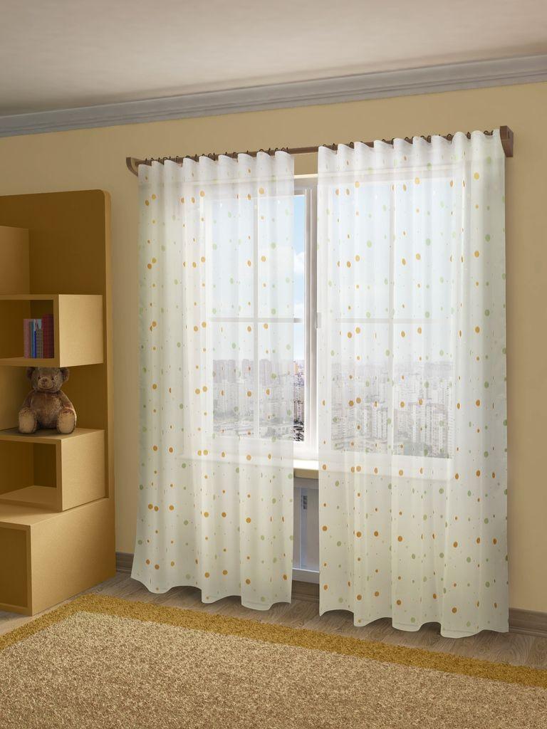 Тюль Sanpa Home Collection Джесика, на ленте, цвет: оранжево-зеленый, высота 280 смHP70133/13/1E Джесика оранжево-зеле, , 300*280 см