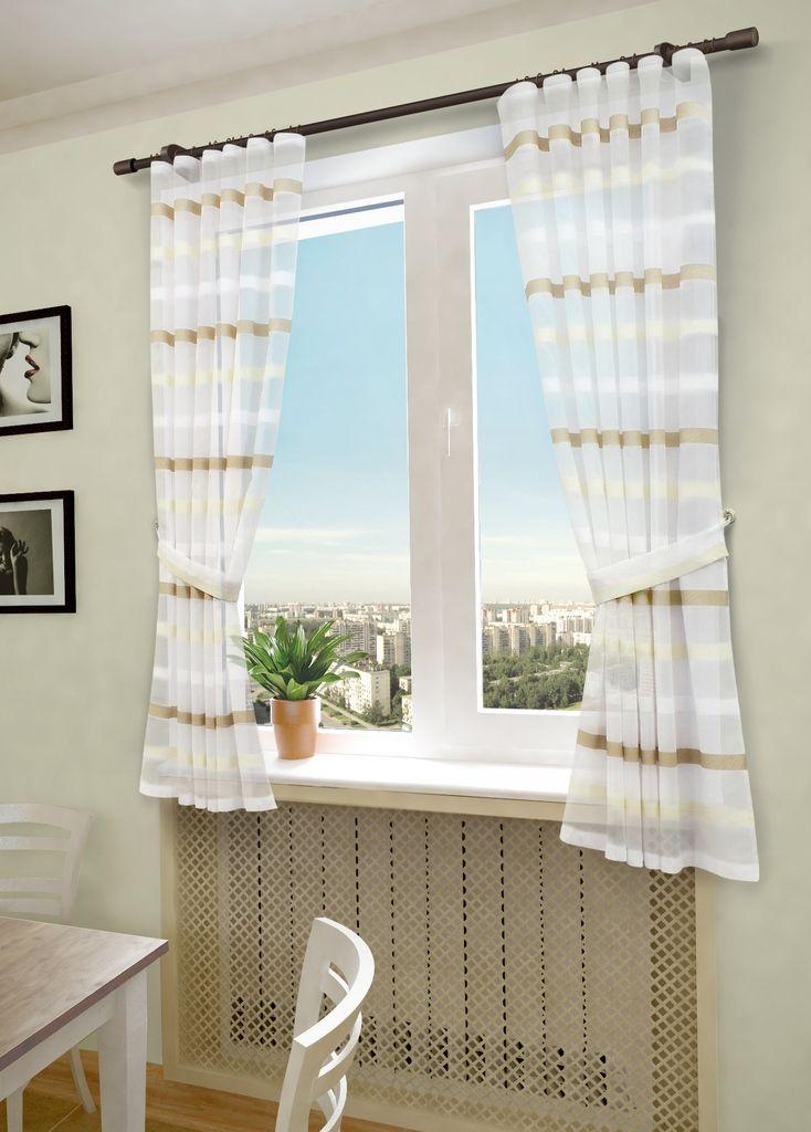 Комплект штор Sanpa Home Collection Бриония, на ленте, цвет: белый, бежевый, высота 180 смКШБРИОНИЯ(1)бело-беж, , 145*180 +подхваты