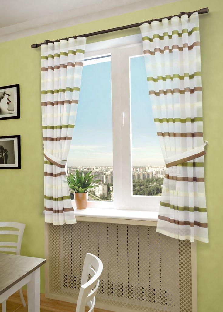 Комплект штор Sanpa Home Collection Бриония, на ленте, цвет: бежевый, салатовый, высота 180 смКШБРИОНИЯ(10)беже-салат, , 145*180 +подхваты