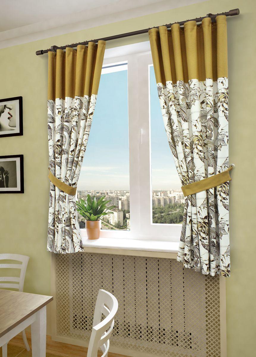 Комплект штор Sanpa Home Collection Гиацинт, на ленте, цвет: коричневый, высота 180 смКШГИАЦИНТ(3)коричн, , 145*180 +подхваты