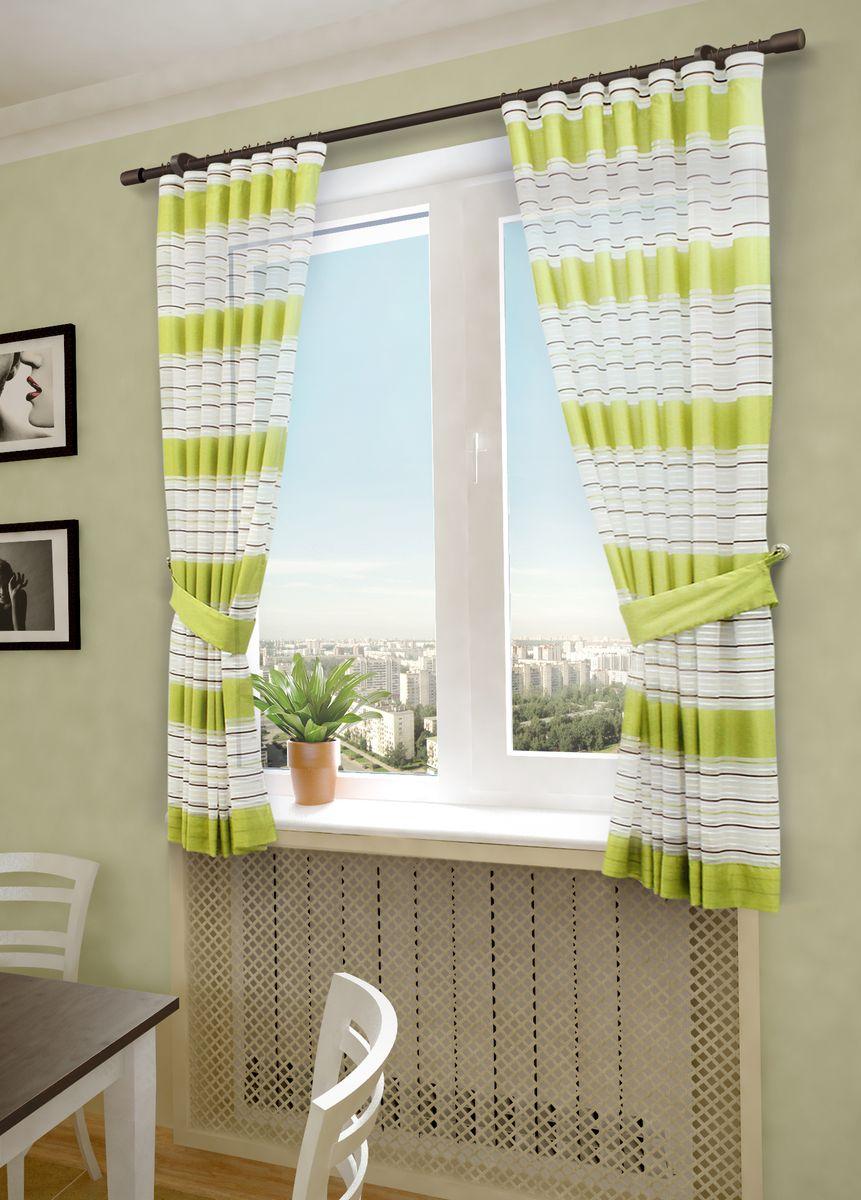 Комплект штор Sanpa Home Collection Зебра, на ленте, цвет: салатовый, высота 180 смHP20288/5/1E Зебра салатовый, , 145*180(2шт)+подхв