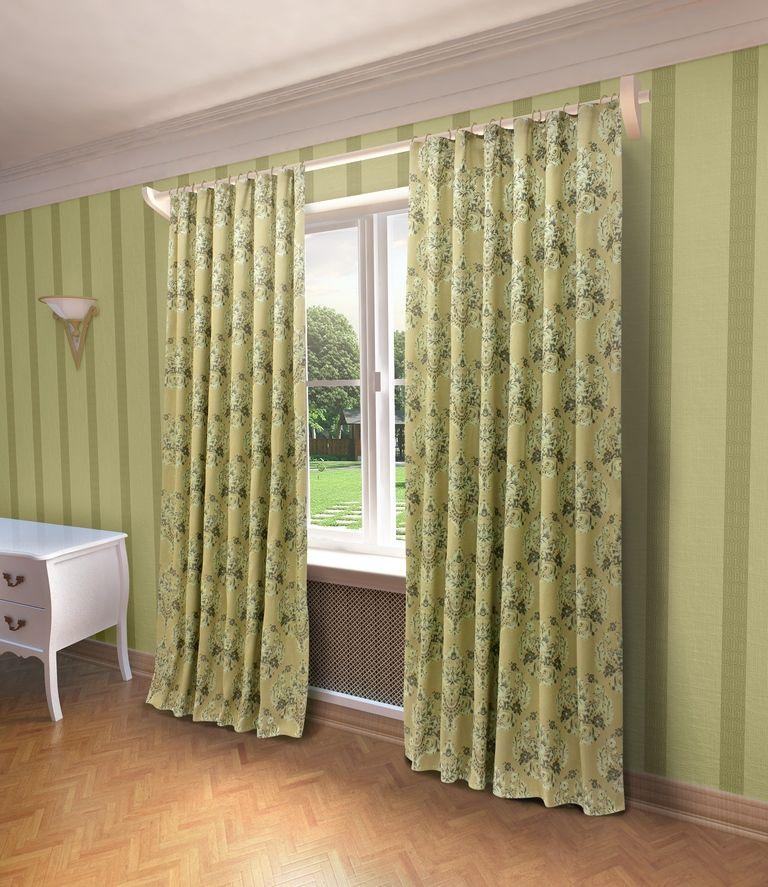 Штора Sanpa Home Collection Лесли, на ленте, цвет: зеленый, высота 260 смHP80244/3/1Е Лесли зеленый, , 200*260 см
