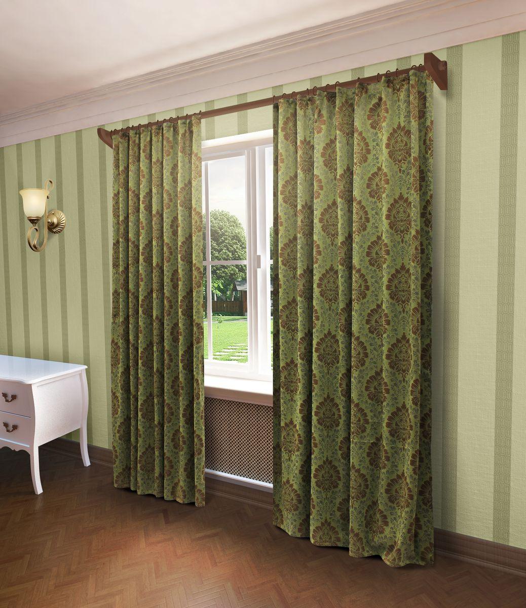 Штора Sanpa Home Collection Белинда, на ленте, цвет: зеленый, высота 260 смHP80225/8/1Е Белинда зеленый, , 200*260 см