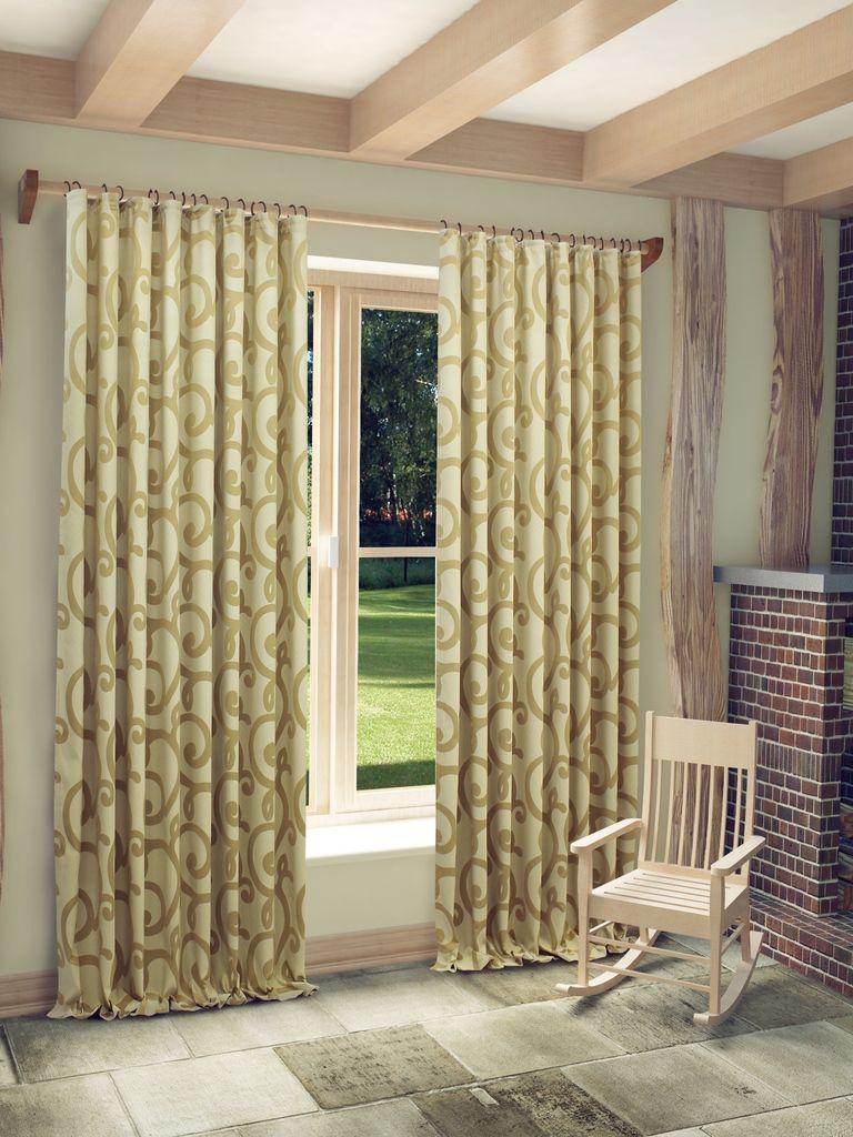 Штора Sanpa Home Collection Реджина, на ленте, цвет: светло-коричневый, высота 280 смHP80155/4/1Е Реджина светло-коричневый, , 200*280 см