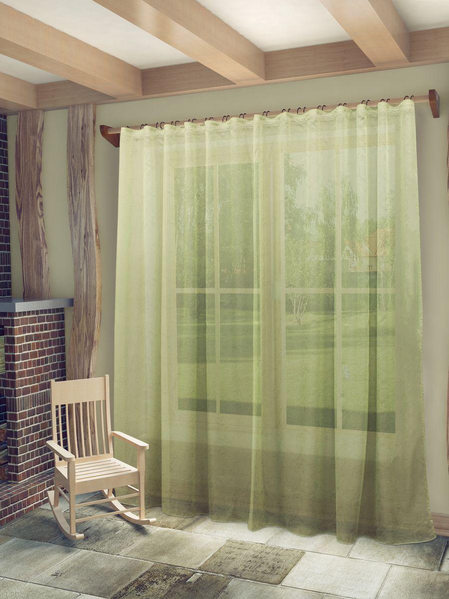 Тюль Sanpa Home Collection Рейчел, на ленте, цвет: зеленый, высота 280 смHP70276/6/1E Рейчел зеленый, , 300*280 см