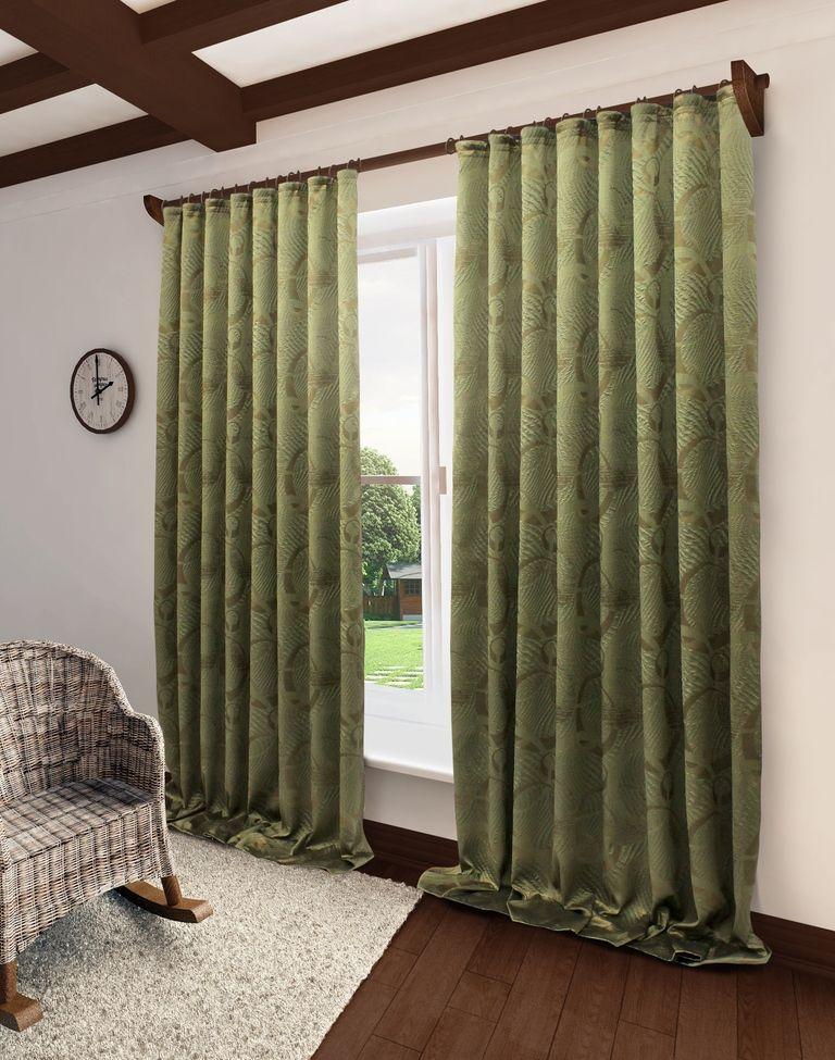 Штора Sanpa Home Collection Селина, на ленте, цвет: коричневый, зеленый, высота 260 смHPO2111/24/1E Селина кор.-зелен, , 150*260 см